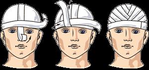 Первая помощь при ранении головы: повязка, обработка раны при ранении волосистой части головы
